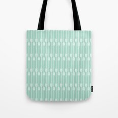 White Arrows on Mint Tote Bag