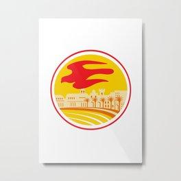 Peregrine Falcon Silhouette Oval Retro Metal Print