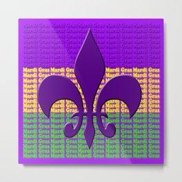 Mardi Gras  tri color with Fleur de lis Metal Print