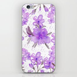 Watercolor lavender lilac brown modern floral iPhone Skin