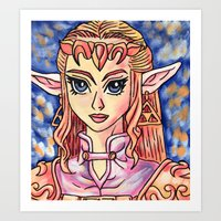 legend of zelda Art Prints featuring Zelda by MSG Imaging