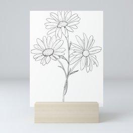 Three Daisys / Daisy Drawing / Black and White Flower / Daisy Art Mini Art Print