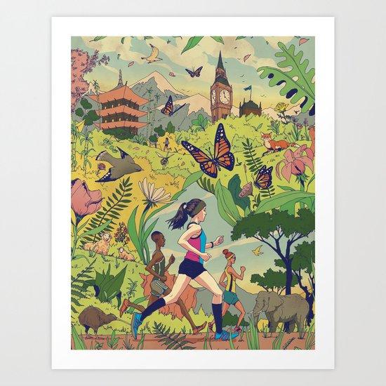 Run Around The World Art Print