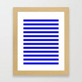 Narrow Horizontal Stripes - White and Blue Framed Art Print