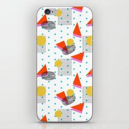 Bounce - abstract minimal retro throwback 1980s grid circle shapes memphis design pattern print art iPhone Skin