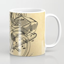 1918 C. J. Gustafson Motorcycle with Side Car Stock Drawing Patent 1 Coffee Mug