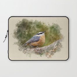 Nuthatch Watercolor Art Laptop Sleeve