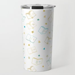 Classic Book Doodles Blue & Yellow Travel Mug
