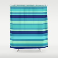 preppy Shower Curtains featuring Preppy Stripes - Aqua Blues by Sweet Karalina