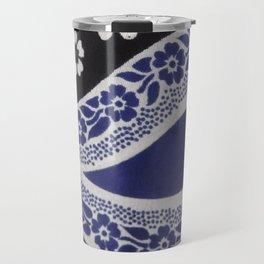 Black and Blue Tanzanian Fabric Travel Mug