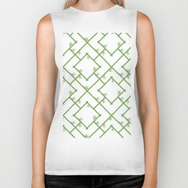 Bamboo Chinoiserie Lattice in White + Green Biker Tank