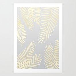 Gold palm leaves on grey Art Print