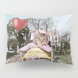 A pretty, little kitty with a heart-shaped balloon Pillow Sham