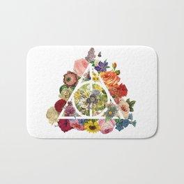 Floral Deathly Hallows - White Bath Mat