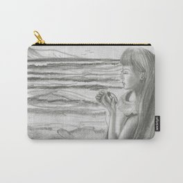 A Cool, Quieting Thought (Girl by tree on the beach) Carry-All Pouch