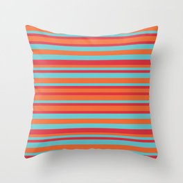 Turquoise, Orange and Red Vintage Stripes Throw Pillow