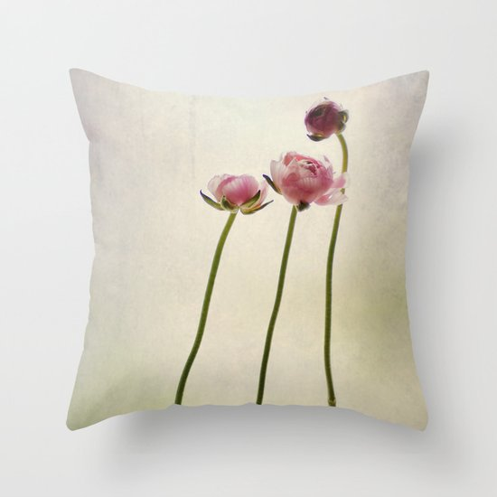 Ranunculus still life Throw Pillow