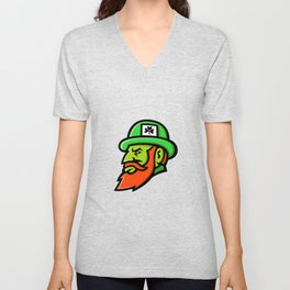 Leprechaun Head Mascot Unisex V-Neck
