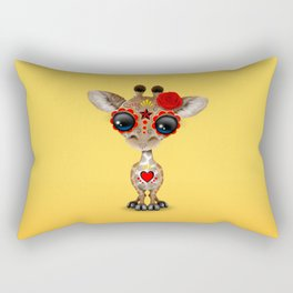 Red and Yellow Day of the Dead Sugar Skull Baby Giraffe Rectangular Pillow
