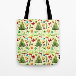 Vintage green red colorful festive Merry Christmas floral Tote Bag