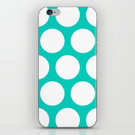 Large Polka Dots: Aqua Blue iPhone Skin