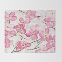 Pink Dogwood Throw Blanket