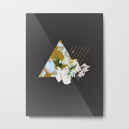 Tropical Flowers & Geometry Metal Print