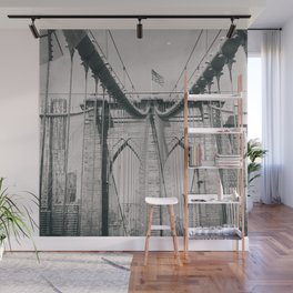 Brooklyn bridge, architecture, vintage photography, new york city, NYC, Manhattan view Wall Mural