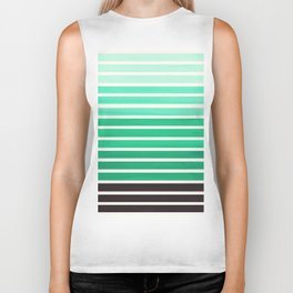 Teal Turquoise Minimalist Abstract 15 Stripes Watercolor Gradient Biker Tank