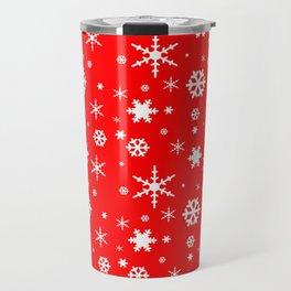 Aurora Red and White Winter 2016 Snowflakes Pattern Travel Mug