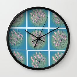 Taking Flight - Blue Pink Green & Black Palette Wall Clock