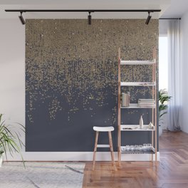 Navy Blue Gold Sparkly Glitter Ombre Wall Mural