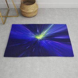 Interstellar, time travel and hyper jump in space. Flying through wormhole tunnel or abstract energy Rug
