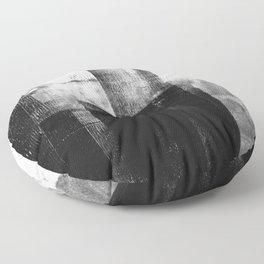Black White Grey Abstract Monotype Floor Pillow