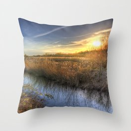 The Ambling River Sunset Throw Pillow