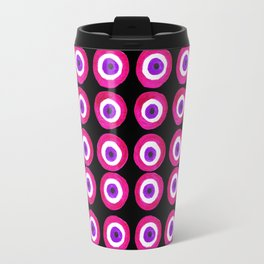 Evil Eye Amulet Talisman in Pink on Black Travel Mug