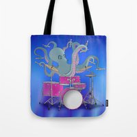 drums Tote Bags featuring Octopus Playing Drums - Blue by Ornaart