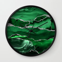 Glamour Emerald Bohemian Watercolor Marble With Silver Glitter Veins Wall Clock