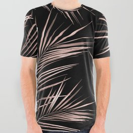 Rosegold Palm Tree Leaves on Midnight Black All Over Graphic Tee