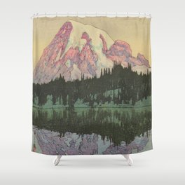Hiroshi Yoshida Vintage Japanese Woodblock Print Reflection Lake Landscape Shower Curtain