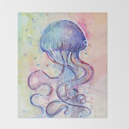 Jellyfish Watercolor Throw Blanket