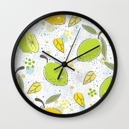 Seamless Pattern with green lime and lemon. Scandinavian Style. Wall Clock