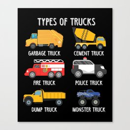 Cool Garbage Truck Kids Trash Recycling Driver  Canvas Print