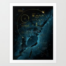 Infographic Variant - Voyager and the Golden Record - Space | Science | Sagan Art Print