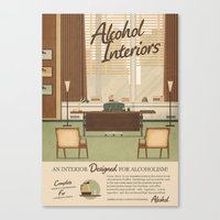alcohol Canvas Prints featuring Alcohol Interiors by Daniel long Illustration