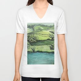 River and grass field Unisex V-Neck