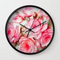 shabby chic Wall Clocks featuring Shabby Chic Pink by Jacqueline Maldonado