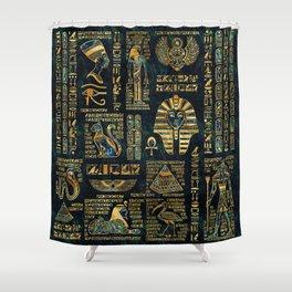 Ancient Egyptian Hieroglyph Sphinx Pyramid Shower Curtain