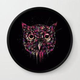 Colored Owl Wall Clock