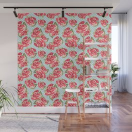 English Roses Blue Polka Dots Wall Mural